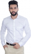 5th Anfold Men Solid Formal White Shirt