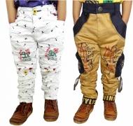 AD & AV Slim Fit Boys White, Gold Trousers