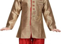 AJ Dezines Boys Festive & Party Sherwani and Churidar Set  (Red Pack of 1)