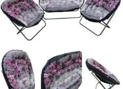 "Amaze"" Folding Sofa Set (2+1+1 Seat) Home Household Indoor Furniture – PURPLE"