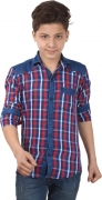 Anry Boys Checkered Casual Denim Red Shirt