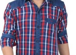 Anry Boys Checkered Casual Denim Red Shirt