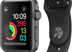 Apple Watch Series 1 – 42 mm Space Grey Aluminium Case with Black Sport Band  (Black Strap Medium)