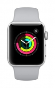 Apple Watch Series 3 GPS – 38 mm Silver Aluminium Case with Fog Sport Band  (White Strap Regular)