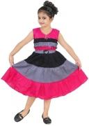 BAHUBALI Girls Midi/Knee Length Casual Dress  (Pink, Sleeveless)