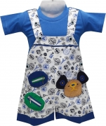 Baloons Dungaree For Boys Printed Cotton  (Blue)