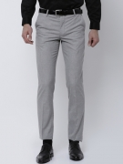 Black coffee Men Grey Regular Fit Solid Formal Trousers