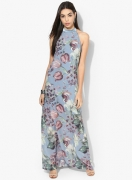Kazo Blue Printed Maxi Dress