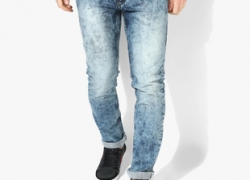 Flying Machine Blue Washed Mid Rise Slim Fit Jeans (Michael)