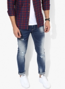 SpykarPOPULAR Blue Washed Skinny Fit Jeans