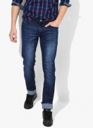 John Players Blue Washed Slim Fit Jeans