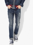 United Colors of Benetton Blue Washed Slim Fit Jeans