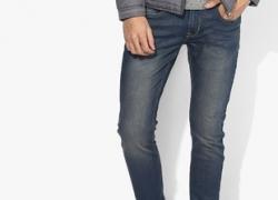 Peter England Blue Washed Slim Fit Jeans