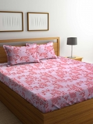 Bombay Dyeing Cynthia 120 TC Polycotton Double Bedsheet with 2 Pillow Covers – Orange
