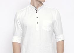 British Club Men White Self-Design Short Kurta
