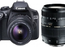 Canon 1300D DSLR Camera Body with Dual Lens: Canon EF-S 18-55 IS II + Tamron AF 70-300 mm F/4-5.6 Di LD Macro Lens (16 GB SD Card + Camera Bag)  (Black)