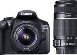 Canon EOS 1300D DSLR Camera Body with Dual Lens: EF-S 18-55 mm IS II + EF-S 55-250 mm F4 5.6 IS II (16 GB SD Card)  (Black)