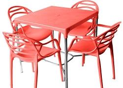 Cello Croma Dlx Atria Four Seater Dining Table Set (Red)