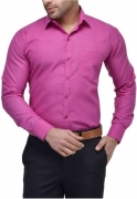 Crease & Clips Men's Solid Formal Pink Shirt