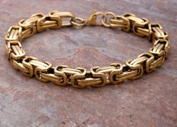 Dare by Voylla Gold-Toned Stainless Steel Gold-Plated Handcrafted Link Bracelet