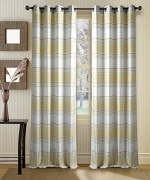 Deco Window 2 Piece Eyelet Door Curtain with white lining (52″X90″)- Ivory/Light Lemon