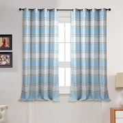 Deco Window 2 Piece Eyelet Window Curtain with white lining (52″X60″)-Ivory/Light Blue