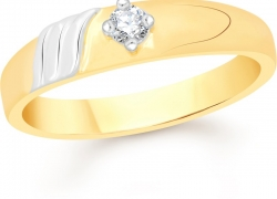 Divastri Single Stone Alloy Cubic Zirconia 18K Yellow Gold Plated Ring