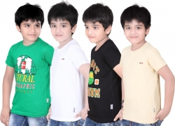 Dongli Boys Solid T Shirt  (Multicolor, Pack of 4)