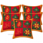 "DreamKraft Indian Kantha Cushion Cover ,Throw Handmade Cotton Pillow Cases 16"" Lot Of 5 Pcs"