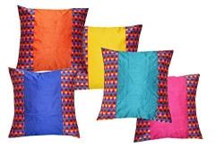 Durable Dupian Silk Plain blue colour Decorative Square Throw Pillow Cover Cushion Case Sofa Chair Seat Pillowcase 16 X 16 Inches set of 5