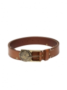 Ed Hardy Men Tan Brown Studded Leather Belt
