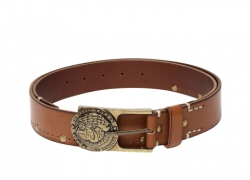 Ed Hardy Men Tan Brown Studded Leather Belt
