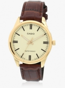 Casio Enticer Men's Mtp-V005gl-9Audf (A1102) Maroon/Golden Analog Watch