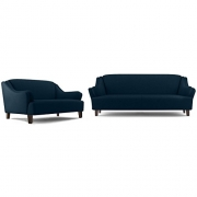 FabHomeDecor Austin Five Seater Sectional Sofa Set 3-2 (Dark Blue)
