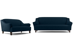 FabHomeDecor Austin Five Seater Sectional Sofa Set 3-2 (Dark Blue)