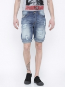 Flying Machine Men Blue Washed Denim Shorts