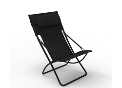 Forzza Samui Folding Outdoor Recliner Sun Chair (Black)
