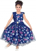 ftc fashions Girls Maxi/Full Length Party Dress  (Blue, Sleeveless)