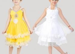 FTC FASHIONS Girls Midi/Knee Length Party Dress  (White, Sleeveless)