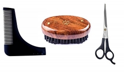 FULLY Men Beard Grooming Combo Set For Beard Brush + Beard Comb + Scissors Specially Designed Beard Combo for Men