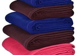 Goyal's Plain Fleece Single Bed Blanket (Set of 5)
