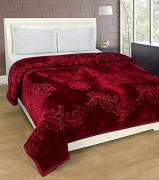 Home Crust Double bed mink blanket 2.5kgs plain -Mehroon