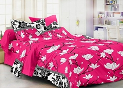 Homefab India 3D 140 TC Polycotton Double Bedsheet with 2 Pillow Covers – Floral, Pink