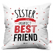 Indibni Sis is Best Friend Colorful White Cushion Cover 18×18 – Gift for Sister on her Birthday & Anniversary