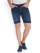 Jack & Jones Men Blue Self-Checked Denim Shorts