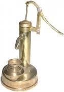 JaipurCrafts Mini Working Hand Pump Showpiece – 20.32 cm (Brass, Gold)