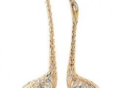 Jaipurcrafts Webelkart Pair Of Kissing Duck Showpiece – 33.02 Cm (Aluminium, Golden )