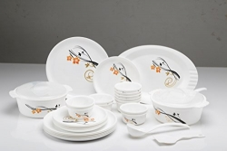 Joy Home Microwave Safe Dinner Set-32 Pcs (Printed Round – White)