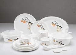 Joy Home Microwave Safe Dinner Set-32 Pcs (Printed Round – White)