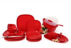 Joy Home Microwave Safe Dinner Set – 32 Pcs (Square, Cherry Red)